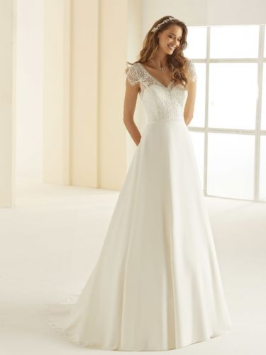 A line wedding dress with lace and chiffon, long bridal gown